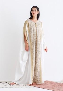 White & Beige Embroidered Oversized Kaftan