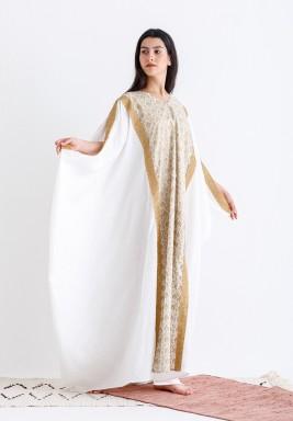 White & Beige Oversized Embroidered Kaftan