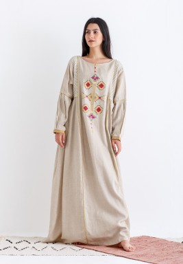 Beige Embroidered Pleated Sleeves Kaftan