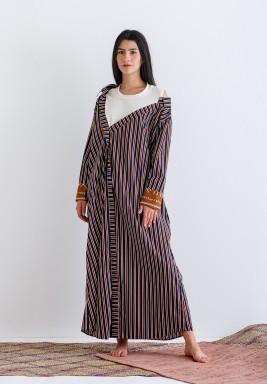 Blue & Brown Striped Kaftan