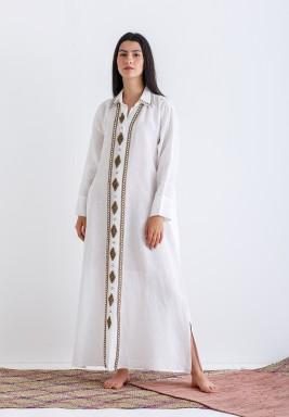 Long Embellishment front Open Dress
