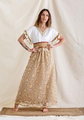 White & Gold Moroccan Style Kaftan