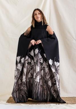Black Floral Cold-Shoulders Kaftan