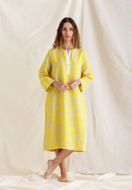 Yellow Citron Chain Print Kaftan