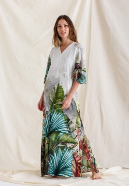 White Amazon Print Maxi Kaftan