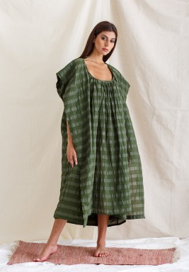 Green Striped Hooded Bisht Set