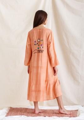 Peach Embroidered Back Kaftan