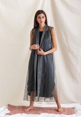 Black & Grey Bisht Set