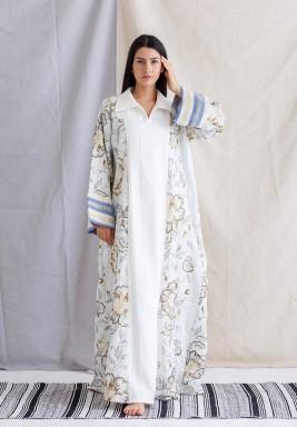 White & Blue Floral Kaftan