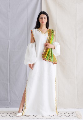White Beaded Kaftan with Embroidered Scarf