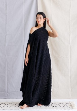 Black Striped Asymmetrical Dress