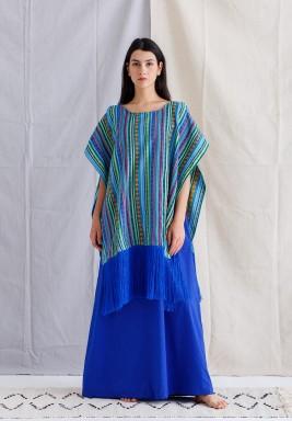 Blue Sadu fringe Kaftan