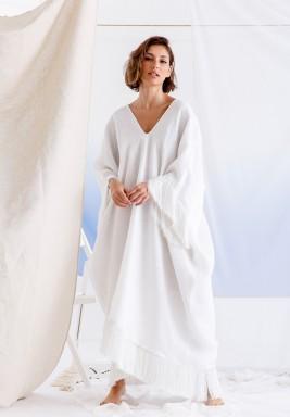 White Tasseled Oversized Kaftan