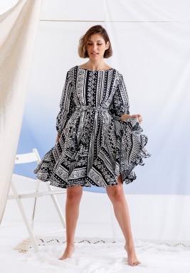 Najla Black & White Short Ruffled Dress
