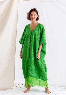 Green Tasseled Oversized Kaftan