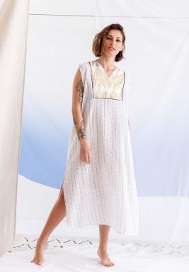 White Embellished Sleeveless Dress
