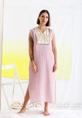Pink Printed Sleeveless Kaftan
