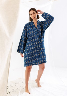 Blue Printed Side Tie Robe