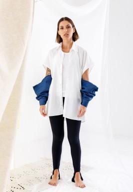 Oversized Shirt with Denim Sleeves