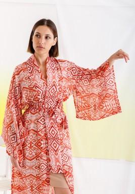 Red Printed Maxi Kimono