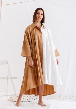 Beige & White Pleated Dress