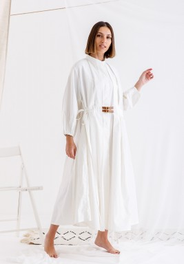 White Belted Pleated Dress