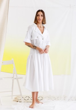 White Ruffled Midi Dress