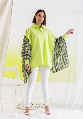 Neon Oversized Printed Sleeves Shirt