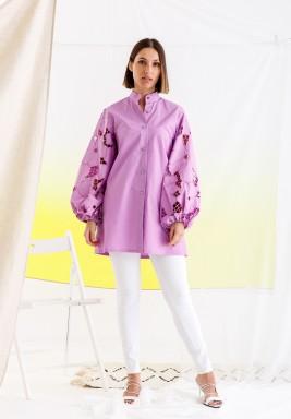 Purple Puffed Sleeves Shirt