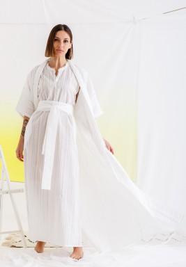 White Bisht & Belted Dress Set