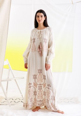 White & Pink Embroidered Tunic Dress