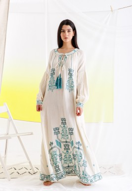 White & Turquoise Embroidered Tunic Dress