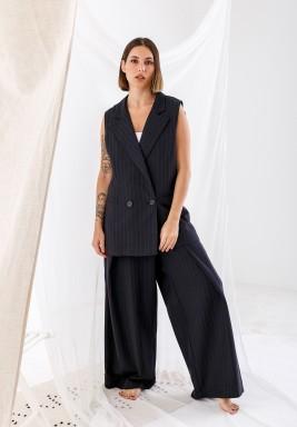 Black Striped Oversized Vest