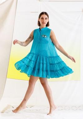 Blue Eye Embroidery Beach Dress