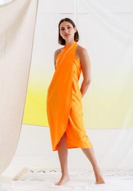 Orange Warp Beach Dress with Scarf