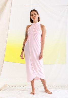 Pink Warp Beach Dress with Scarf