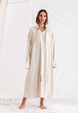 Beige Long linen shirt