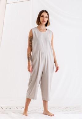 Sandy Grey Sleeveless linen jumpsuit