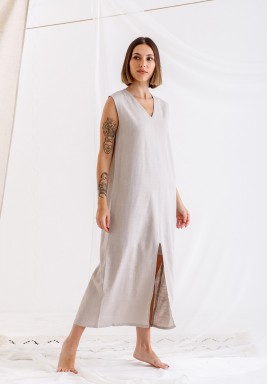 Sandy Grey Sleeveless linen dress