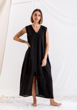 Black Sleeveless linen dress