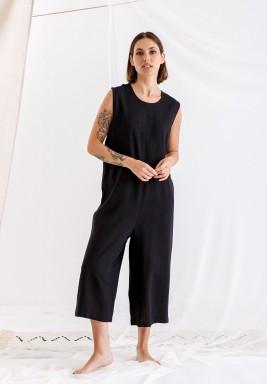 Black Sleeveless linen jumpsuit