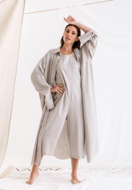 Sandy Grey Long linen shirt