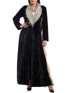 Black Velvet Sequined Coat