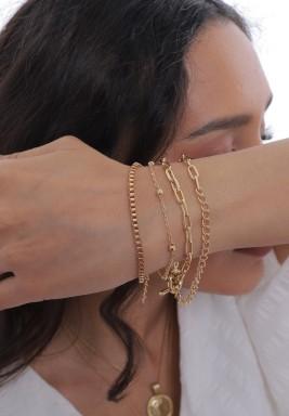 Gold bracelet set of 5