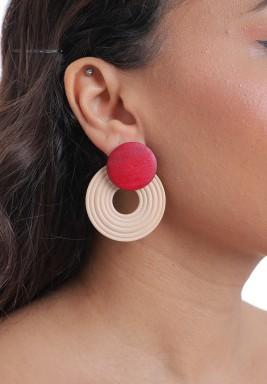 Red & Wooden Circle Drop Earrings