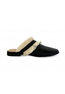 Tara Black Fringes Cut-Out Mules