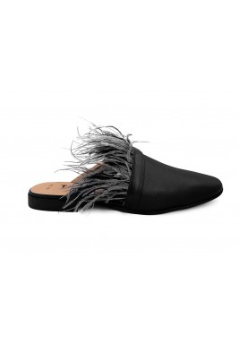 Zayan Black Feathers Cut-Out Mules