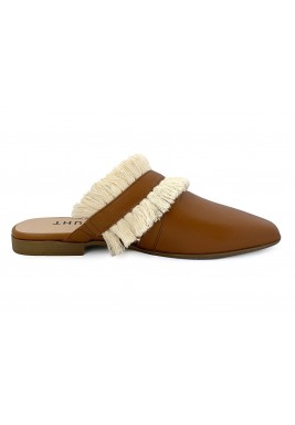 Tara Brown Fringes Cut-Out Mules