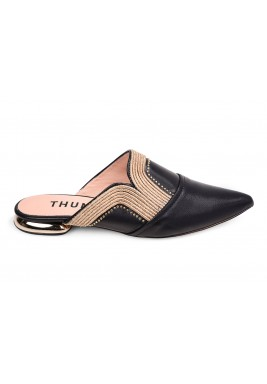 Thuraia Black Leather Mules