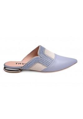 Thuraia Blue &Beige Leather Mules